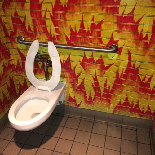 This toilet's on fire