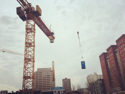 Portaloo On A Crane
